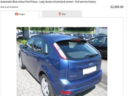 2006FordFocusAutomatic Blue colour Ford Focus - Zetec-Climate pack - Lady doctor driven(2nd owner) - Hull based   Well maintained and serviced.   Warrantywise car parts warranty- May 2015   2nd Owner,   Full service history,   Next MOT due on 30/05/2015,   Electric windows, Air conditioning, CD player, Folding rear seats, Metallic paint, Spare wheel (Full), Central locking, Immobiliser, airbags.     * Autotrader valuation 2800GBP  * free Gear - handbrake lock   * free Kenwood cd fm player   *Car has minor scuffs- scratches- small dent- So priced low at 2800 pounds.Gumtree- ebay - autotrader price 3000gbp+    Test drive acceptable only if address proof other than driving license available. Only cashBlue