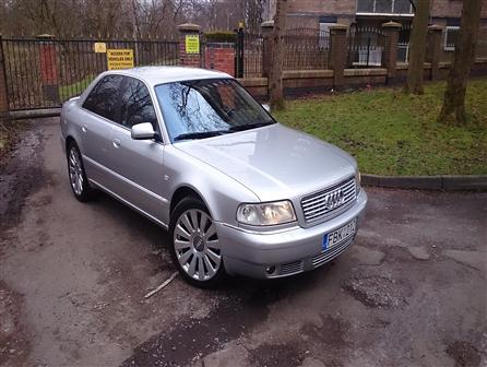 2001AudiA8Audi 8 3.3 TDI 2x Turbo Left Hand drive. Lithuanian Plate numbers. Runs / Starts perfect.  First Registration 2001 Y. Milage 139000KM ( 86370 Miles ) MOT 6 Months.  19inch Wheels. Tiptronic Gearbox with gears +/- on steering wheel also.  Boss sound system .Silver